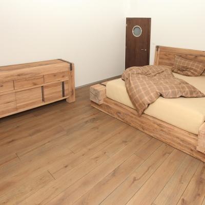 Dubová kartáčovaná posteľ z masívnych hranolov