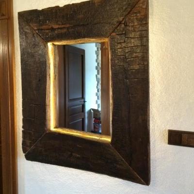 Dubové kartáčované zrkadlo s podsvietením