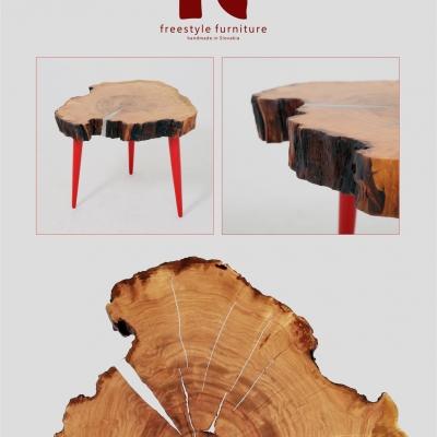 Čerešňový konferečný stolík cínovan – nohy upravené na červený vysoký lesk.