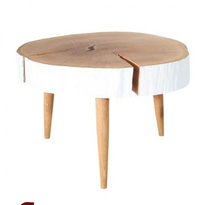 Naturálny dubový stolík s bieleným okrajom