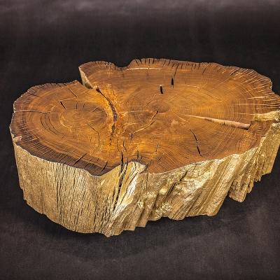 Konferenčný stolík z močiarneho dubu v zlatom prevedení.
