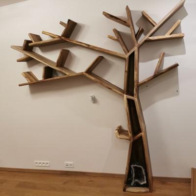 knihovna v tvare stromu z orechoveho dreva